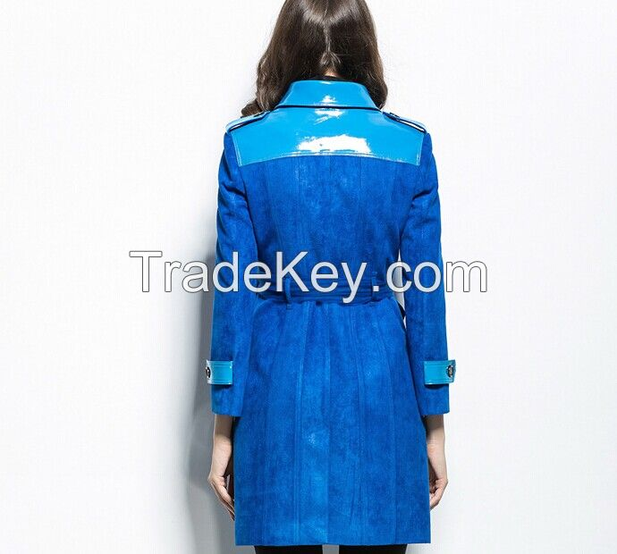Blue Sueded patent leather Maxi overcoat new spring fashion/Casual women's Trench Coat long Outerwear loose clothes for lady