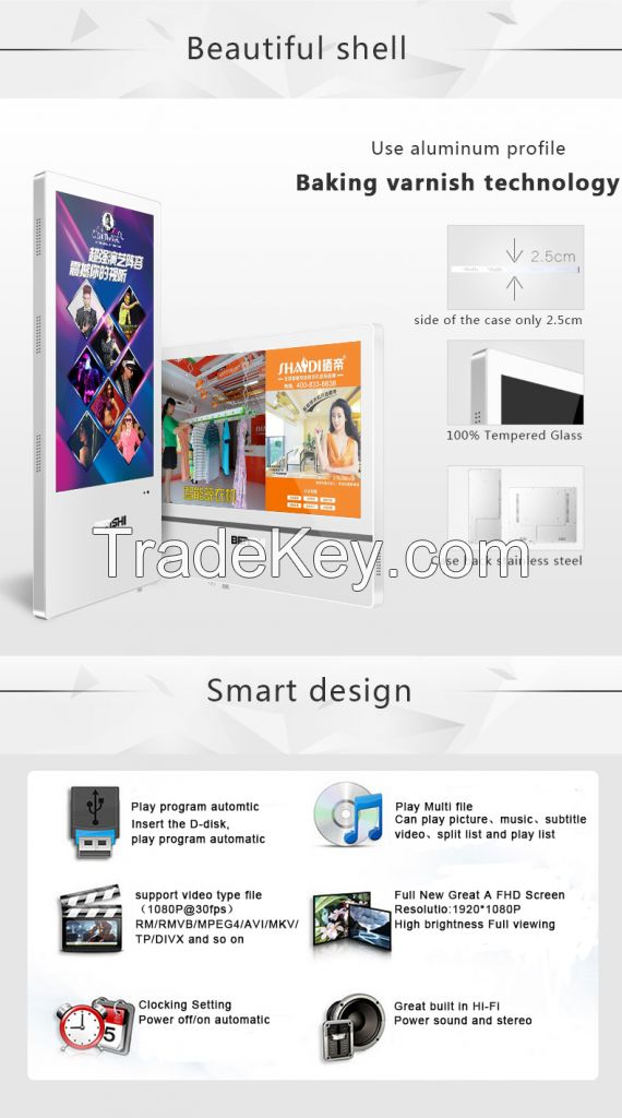 Thin wall mounted building advertising digital signage