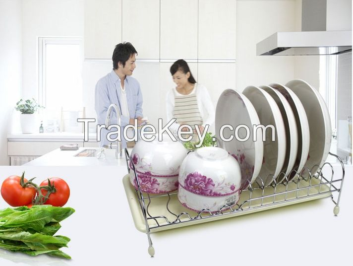 metal storage racks for dish and bowls in kitchen