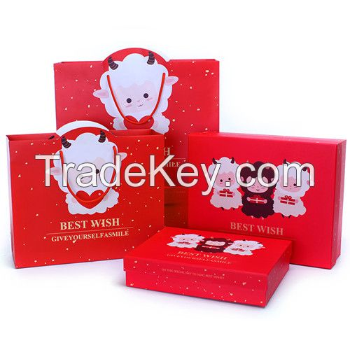 beautiful and cartoon printing gift paper box with gift bag for wholesale or custom make