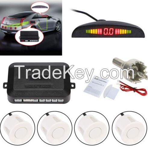 4 Parking Sensors White Auto Car LED Display Reverse Backup Radar System Kit