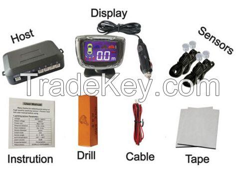 LCD Display Car Wireless Backup Radar Parking Sensor Alert Alarm 4 Sensor-White