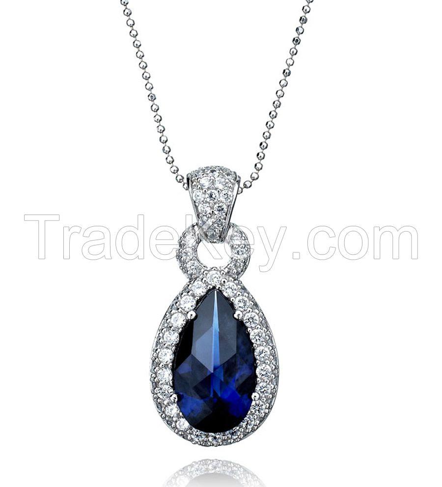 New Design 925 Sterling Silver Necklace with Zircon/Gemstone/Rhineston/customized