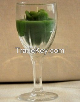 Green Color Tea light Candle with Glass Holder