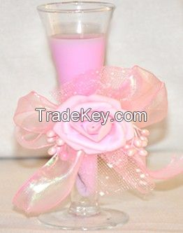 Pink Color Fancy Candle with Glass Holders