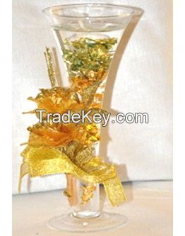 Inner Stained Glass Candle Holder With Goldern Flower
