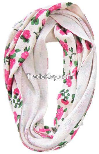 Rose printed ring scarf