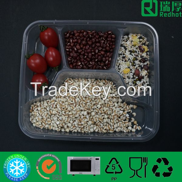 Clear Polypropylene Divided Rectangle Plastic Food Container