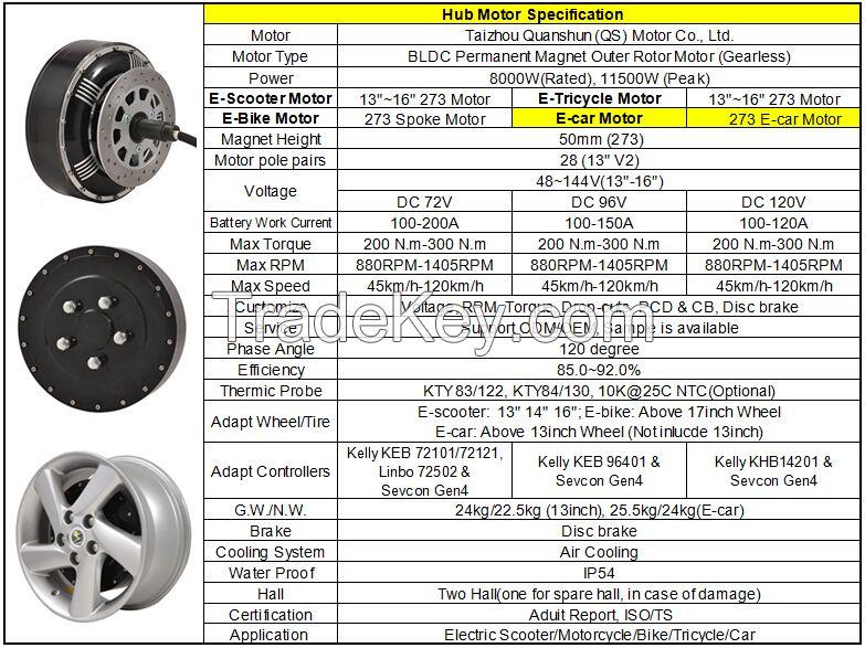 273 Dual 8000W E-car motor conversion kits