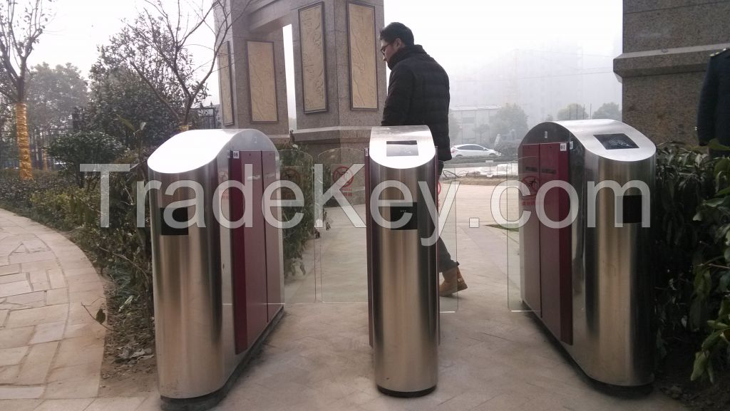 Automatic Pedestrian RFID Remote Control Wing Gate Turnstile in Metro Station, Airport and Business Plaza(Single Motor)
