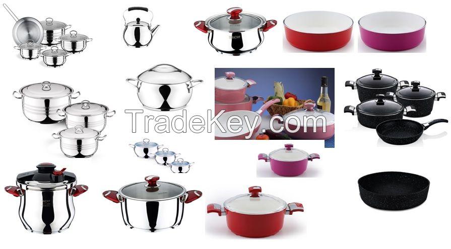 STAINLESS STEEL,  Forged Aluminium Ceramic & Granite Cookware