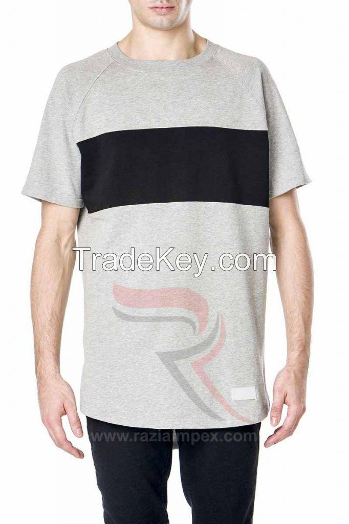 custom mens clothing plain cotton elongated t shirt