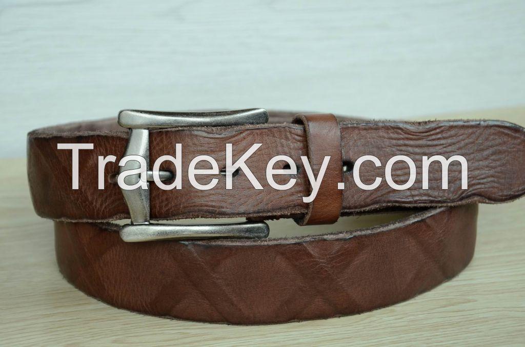 100% Genuine Cowskin leather belt Men's belt Brown Durable Distressed Cowhide Belt