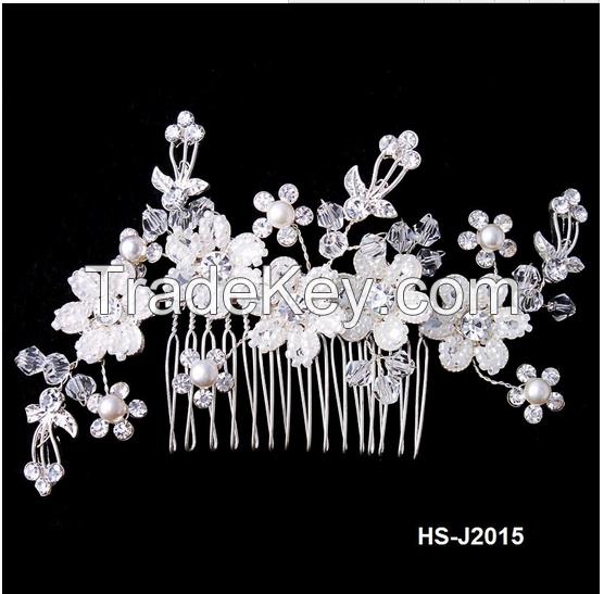 Rhinestone Pearl Hair Piece Comb
