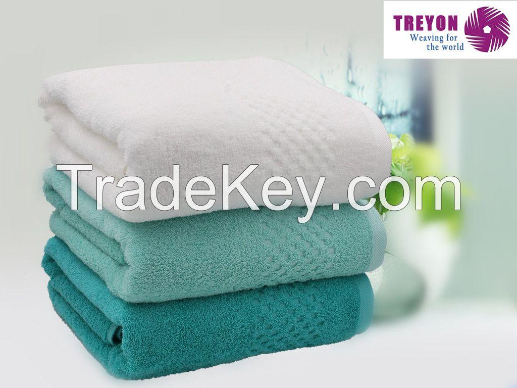 Dobby square lattice jacquard towel