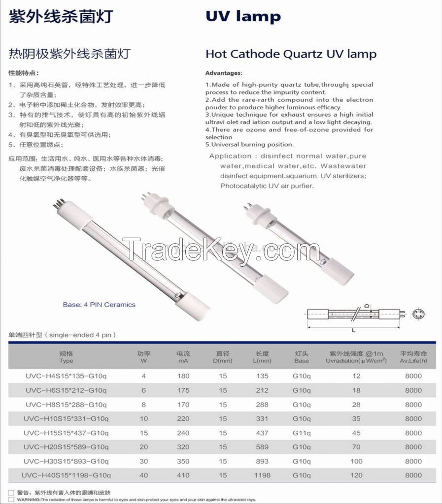 UV Air Sterilization Hot Cathode Quartz Lamp