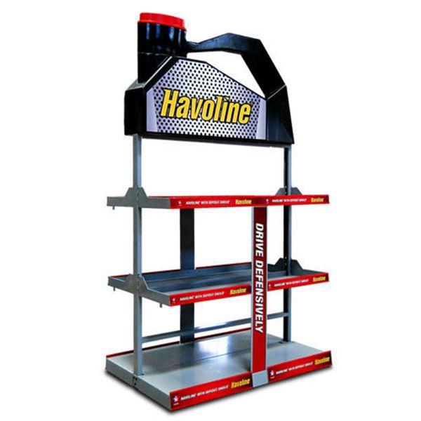Heavy duty oil rack retail POS floor metal display stand