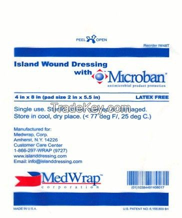 Island Wound Dressing, AMD w/Microban - Various Sizes (IW44T, IW37T, IW48T, IW410T, IW414T)