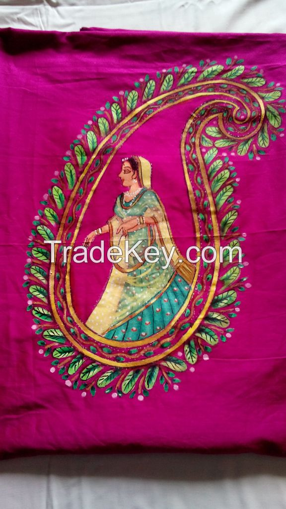 hand painted unstitched kurti materials