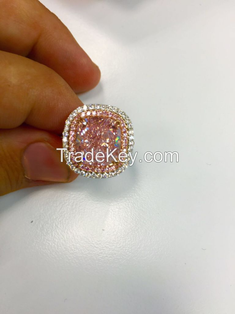 8,46 Ct Natural fancy Purple Pink , VVS1 Cushion Diamond Ring