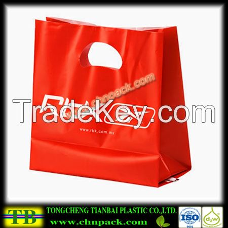 high quality plastic die cut handle bag,patch handle die cut plastic bags