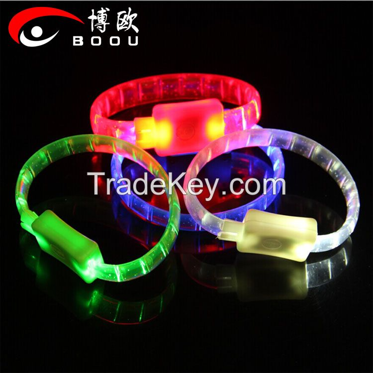 Wholesale soft rubber led bracelets/Soft rubber glowing led bracelet for celebration party