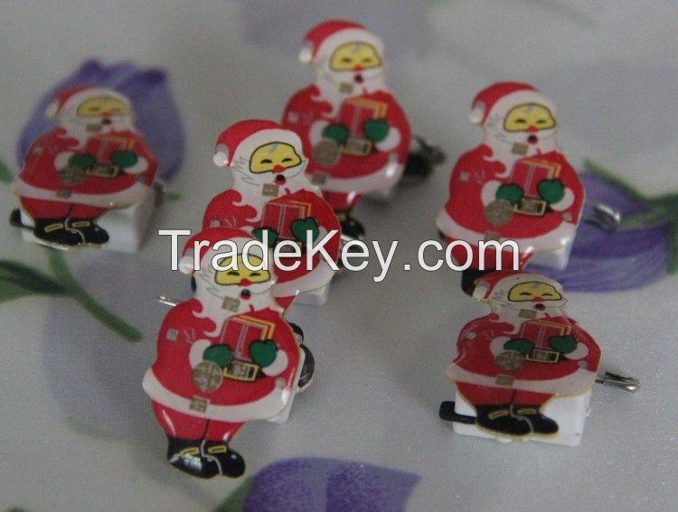 LED Santa Clause Brooche Pin Shining Christmas Gifts
