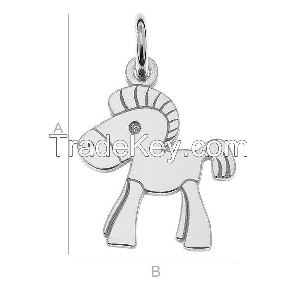925 Sterling Silver Pony Charm, Horse Pendant (rhodium, gold or rose plating available)