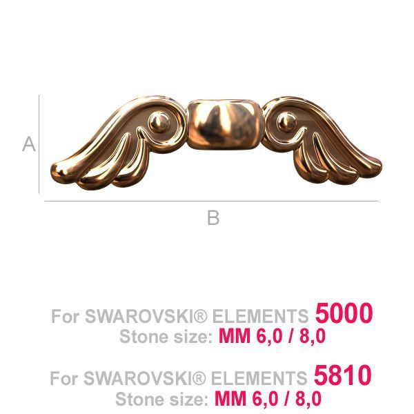 925 Sterling Silver Angel Wings Spacer Bead (rhodium, gold or rose plating available)