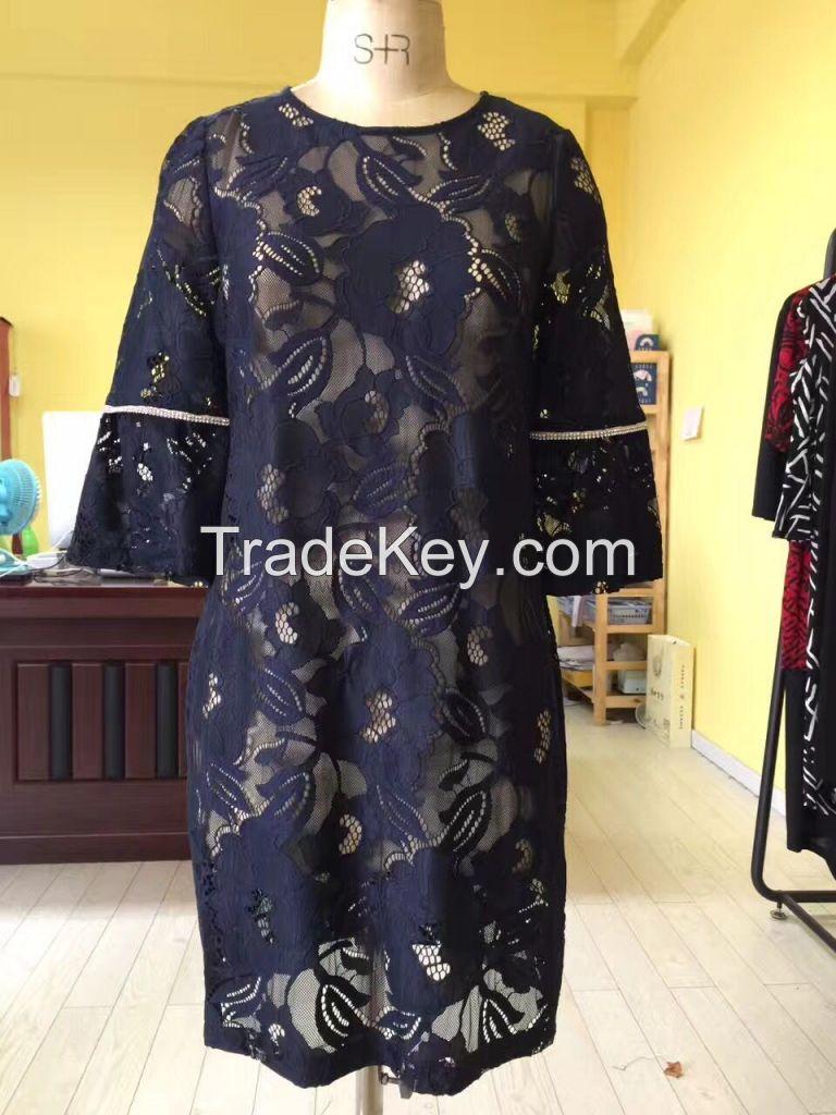 Dark Blue Flower Decoration Hollow Dress