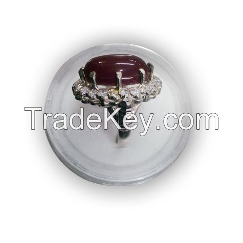 Aqeeq Silver Ring With zircon