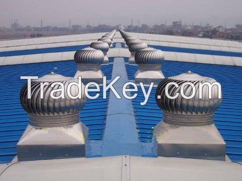 Wind force roof turbine ventilation