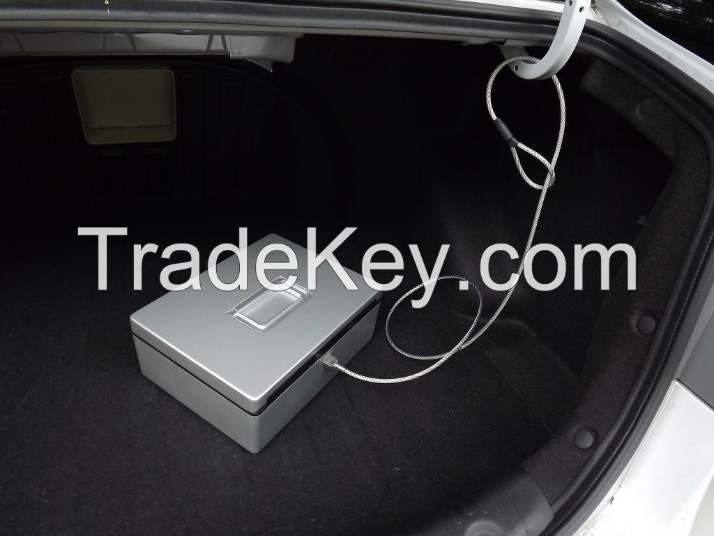 Factory outlet patent Biometric/fingerprint Aluminium alloy car safe gun/jewelry/precious/secrets mini portable safebox silver/golden