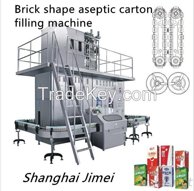 Aseptic brick shape carton filling machine