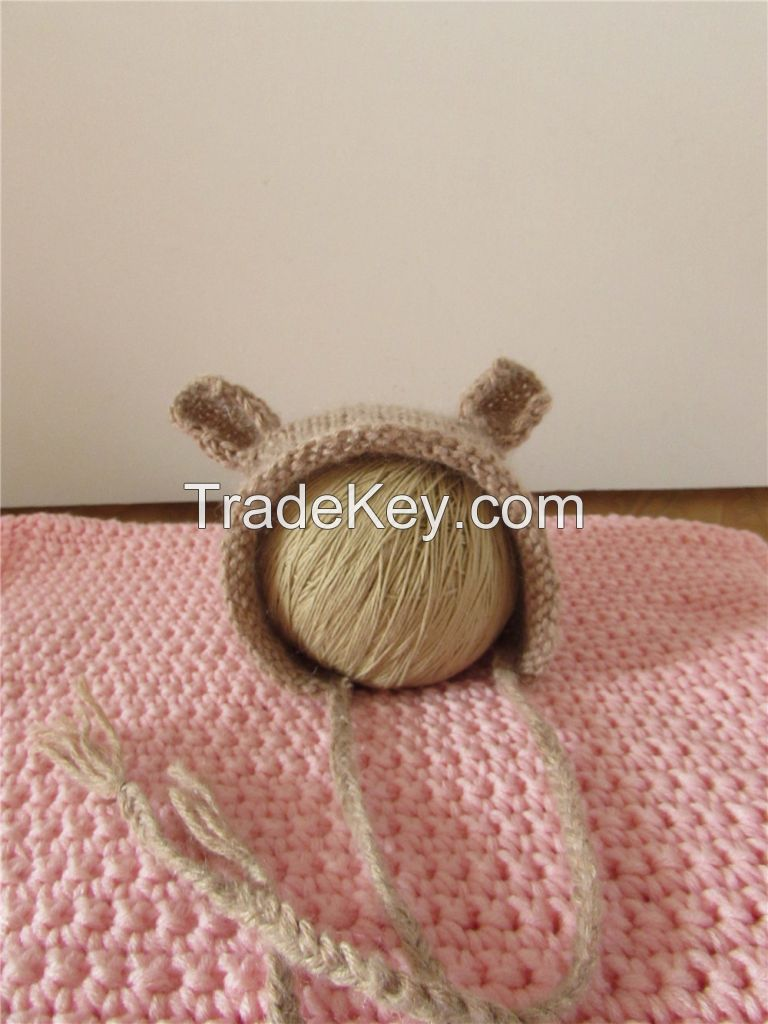 Newborn photo props crochet mohair baby pant and bonnet