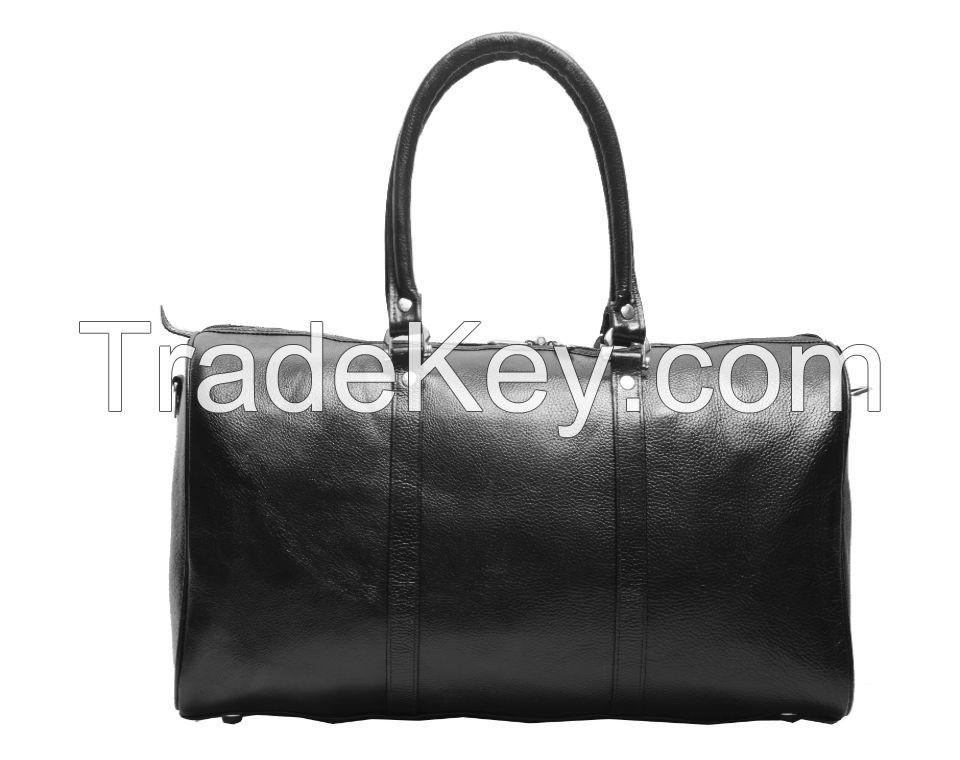 Black Leather Duffle Bag