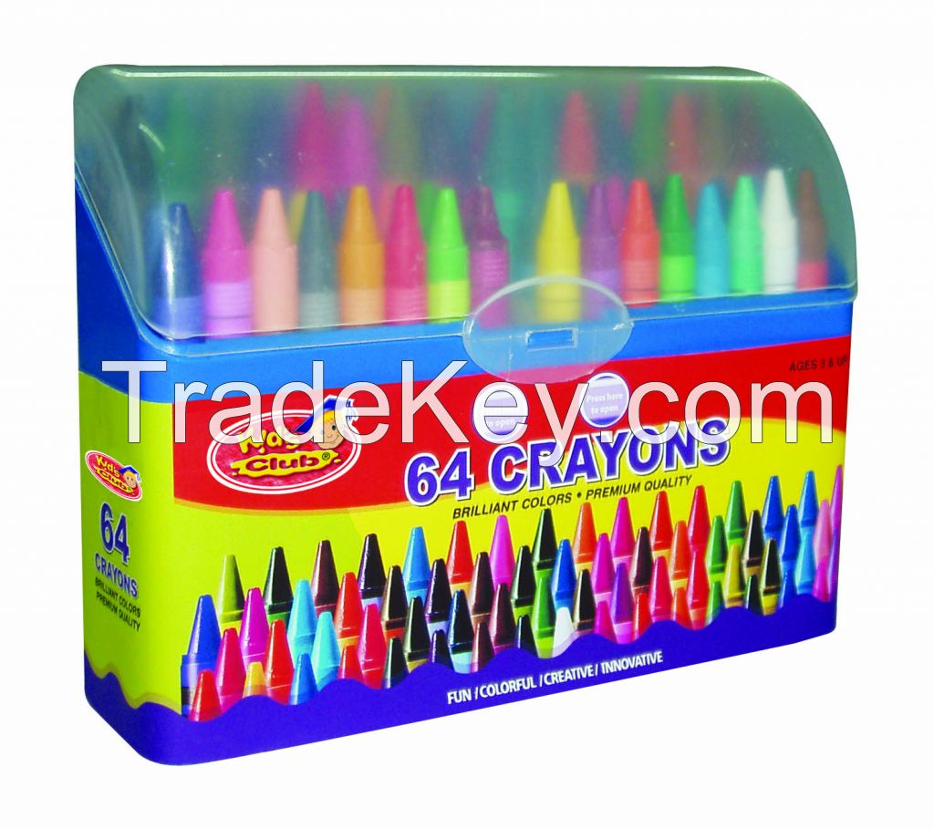 64 Crayons pack in PP plastic case