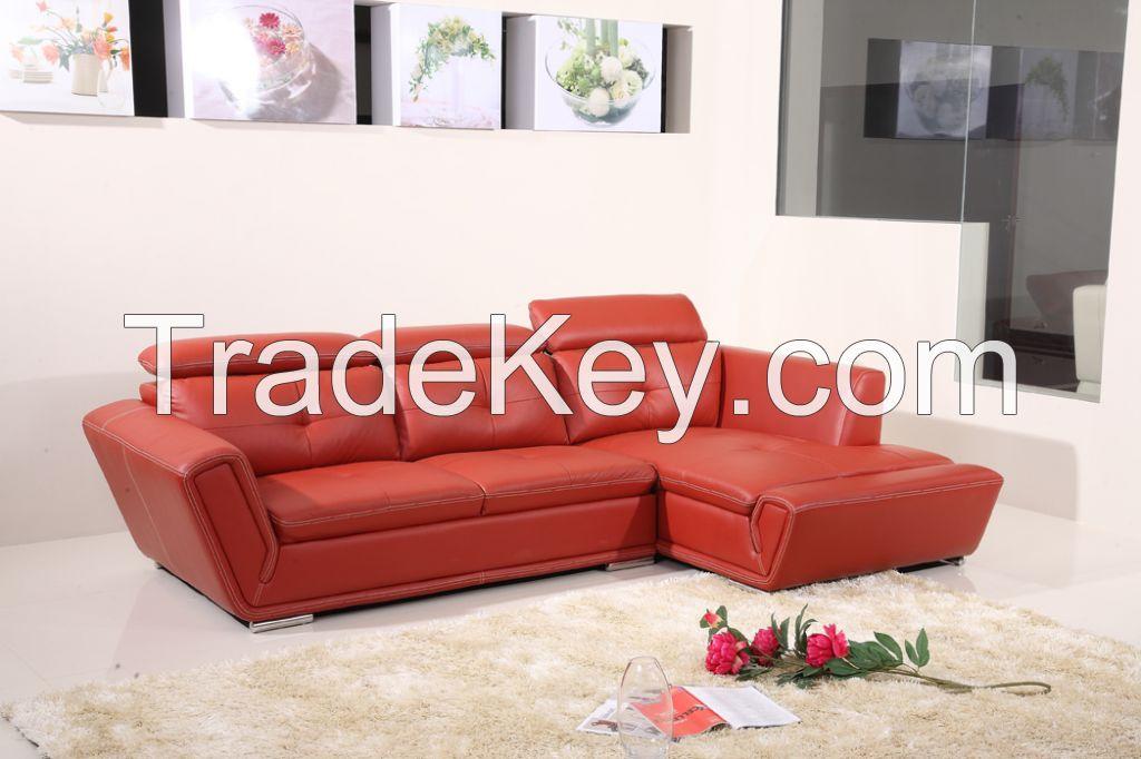 Elegant Living Room Red Corner Sofa Bed, Modern Leather Sofa