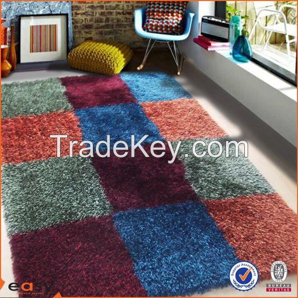 America style colorful blocks design shaggy pile carpet