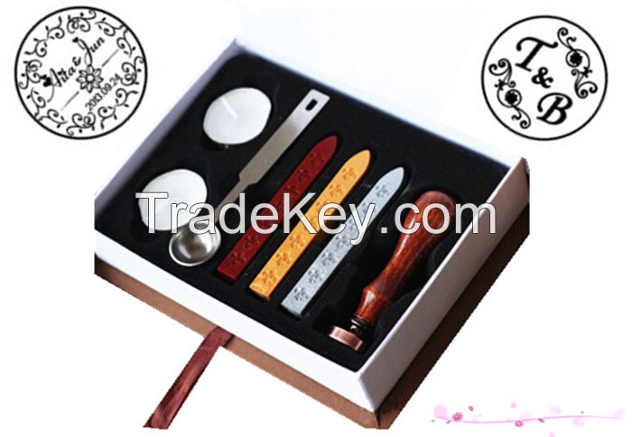 Vintage metal sealing wax stamp with custom stamp logo designed patterns or your design for wedding and work