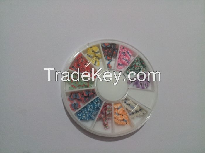 Diy nail beauty butterfly nail art decorations sticker polymer clay nail patches 12 styles per set