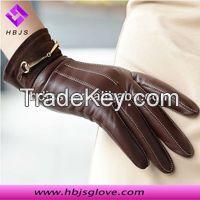 fashion women sheepskin leather gloves