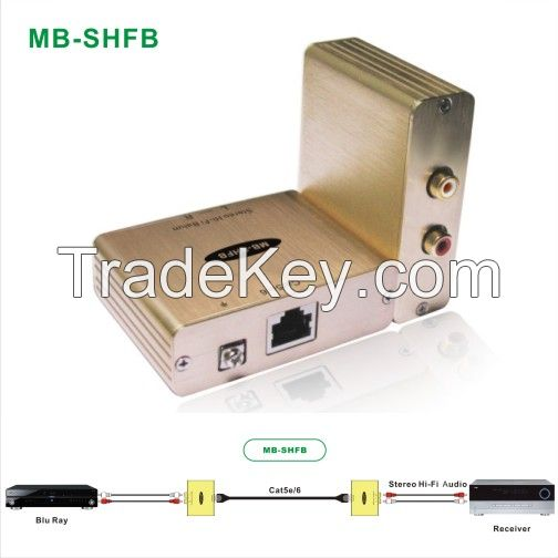 Stereo Hi-Fi Audio Isolator Extender Over Cat5e/6 Cable up to 3, 280ft