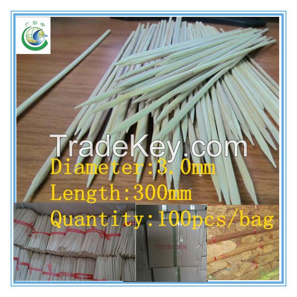 300x3.0mm best quality disposable round bamboo skewer,bamboo stick