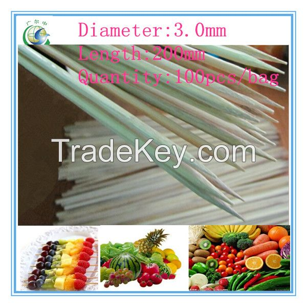 200x3.0mm high quality disposable bamboo skewer,bamboo stick
