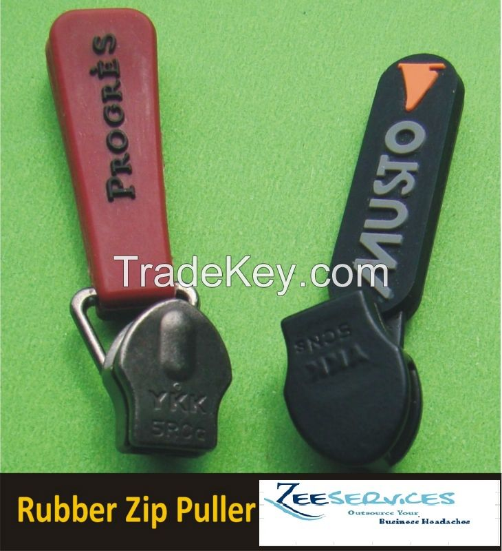HOt Selling Zip Pullers (Woven ,Pvc ) for Garment and fashion Accessories and footwear