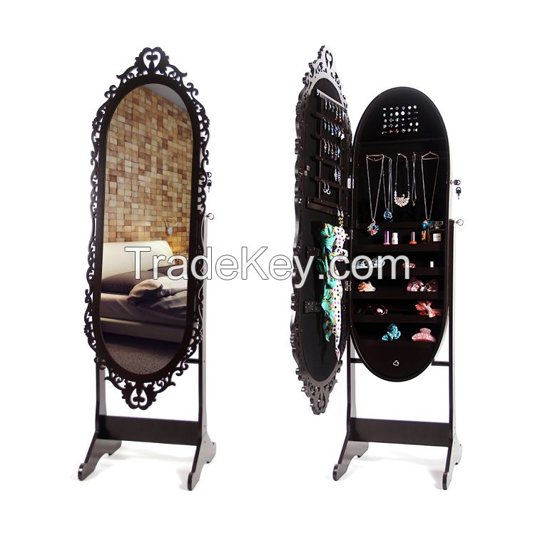 Four Colors Living Room MDF Jewelry Cabinet with Mirror Wholesale