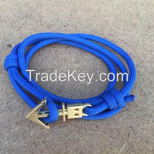 2015 new fashion rope wrap alloy anchor bracelet