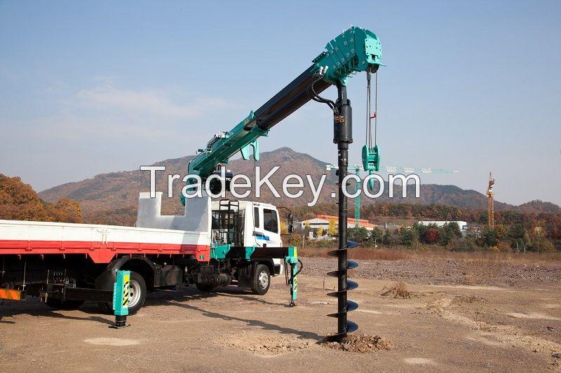Auger attached crane