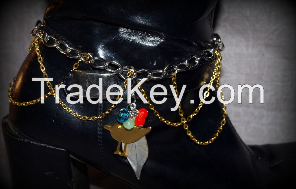 To Walk with Nature Whimsical Bohemian Gold and Silver Chain Boot Charm or Choker with Gold Bird and Silver Leaf and Multi Colored Glass